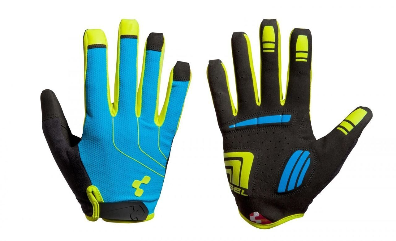 Велоперчатки CUBE Gloves Natural Fit LTD long finger, blue/lime/black